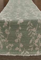 Callie Frayed Table runner Celadon 15x72