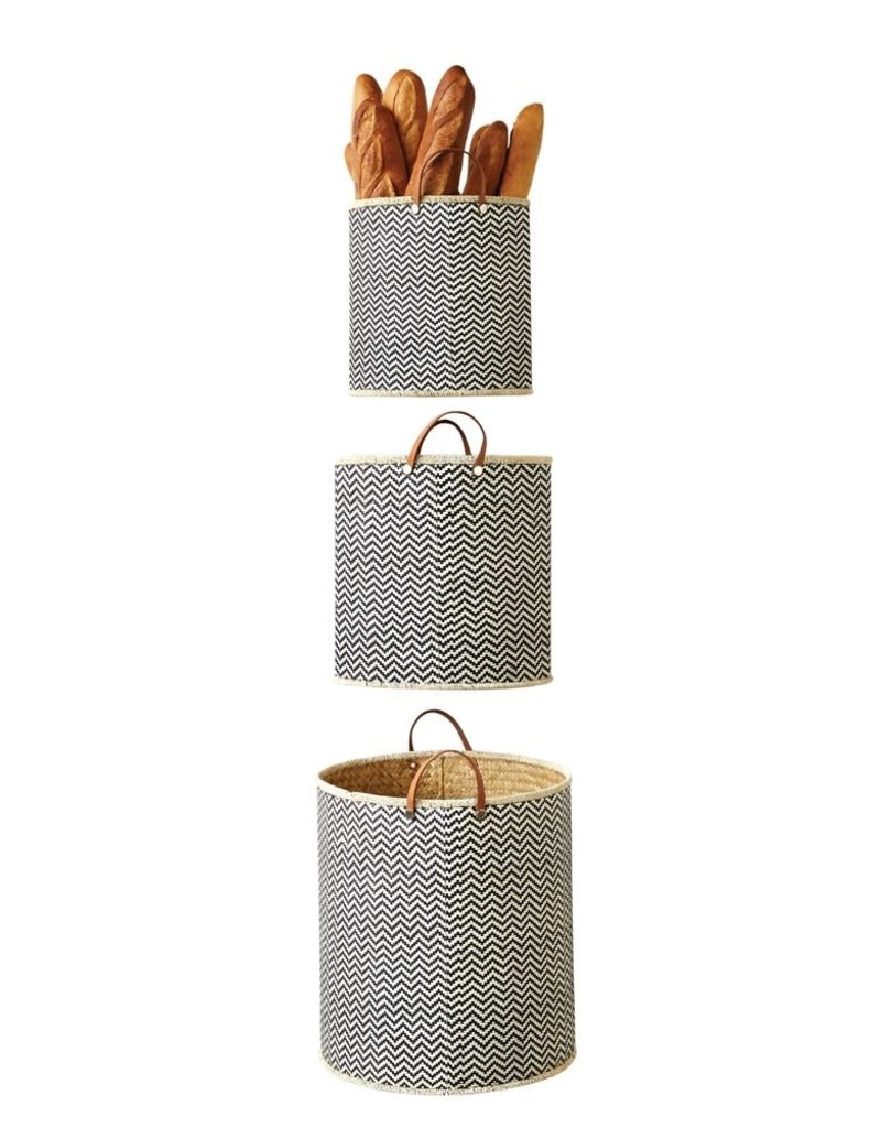 Palm Leaf Laundry Basket, Leather Handle