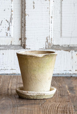 Small Antiqued white rose Pot w/Matching Saucer