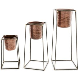 Nested Copper Pots and Stands set of 3