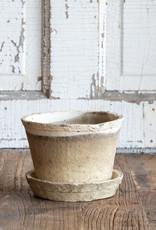 Antiqued White Pot w/saucer