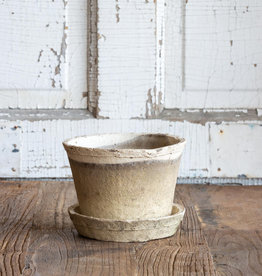 Antiqued White Pot w/saucer