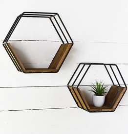 Hexagon metal/wood shelf (set of 2)