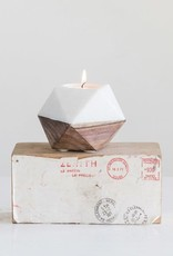 """4"""" Round Marble & Wood Candle Holder"""
