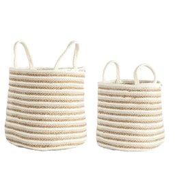 Cotton & Jute Braided Striped Basket (Beige & Gold)