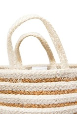 Cotton & Jute Braided Striped Basket (Beige & Gold)