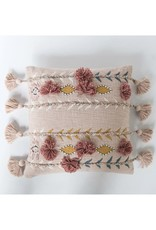 Cotton Embroidered Pillow, Pink