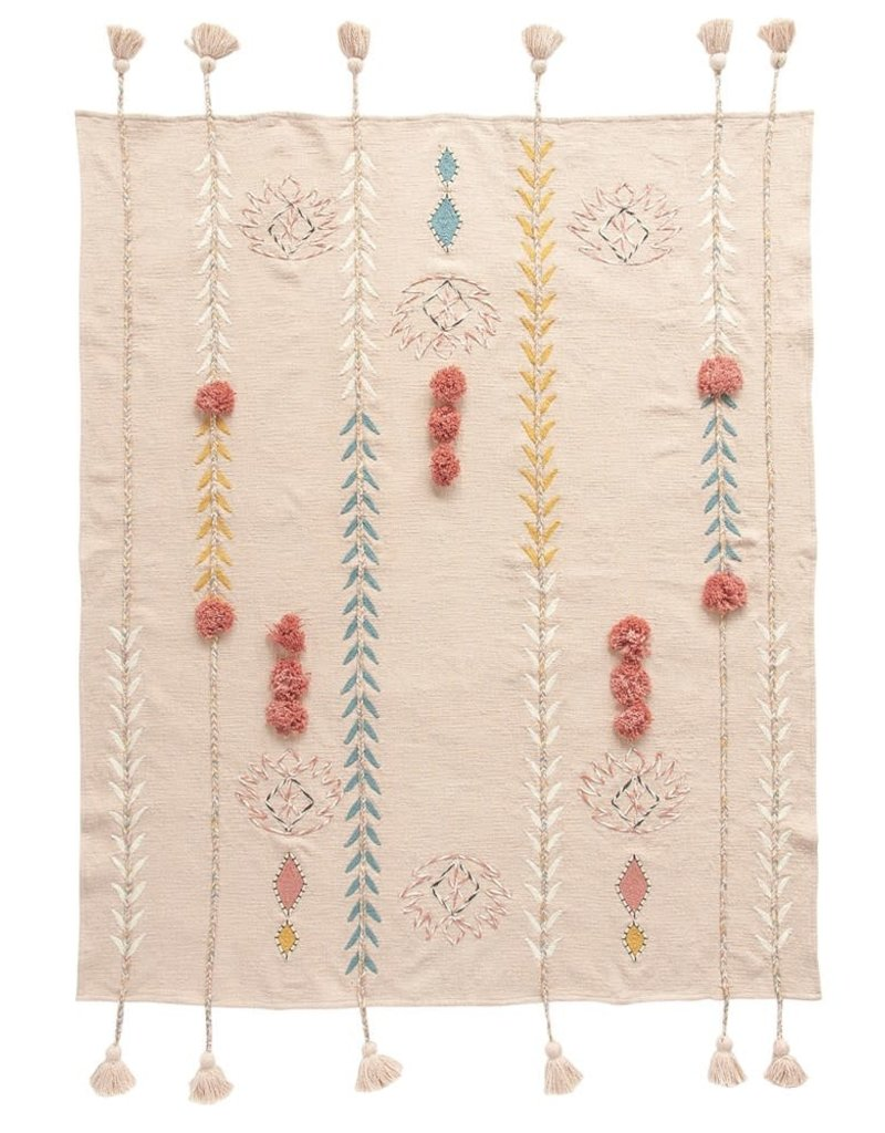 Cotton Embroidered Throw w/ Tassels & Applique, Pink