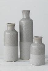 Set of 3 Bottle Vases, Grey stripe