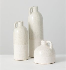 Set of 3 Bottle Vases, White with Gold Flakes