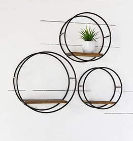 Round Metal & wood shelves (set of 3)