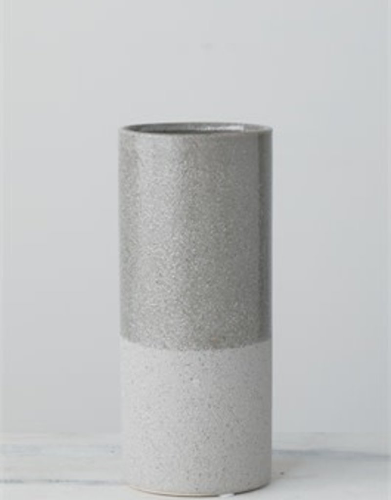 "Grey Stripe Vase 8.75""H"