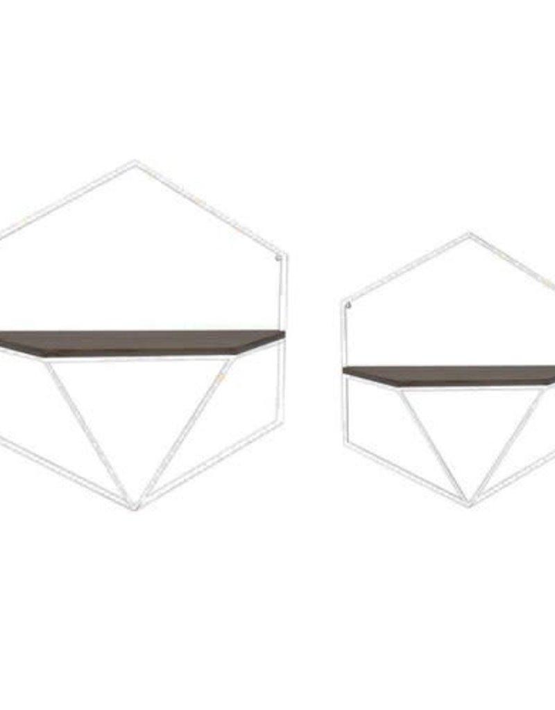 Hexagon Wood/Metal Wall Shelves