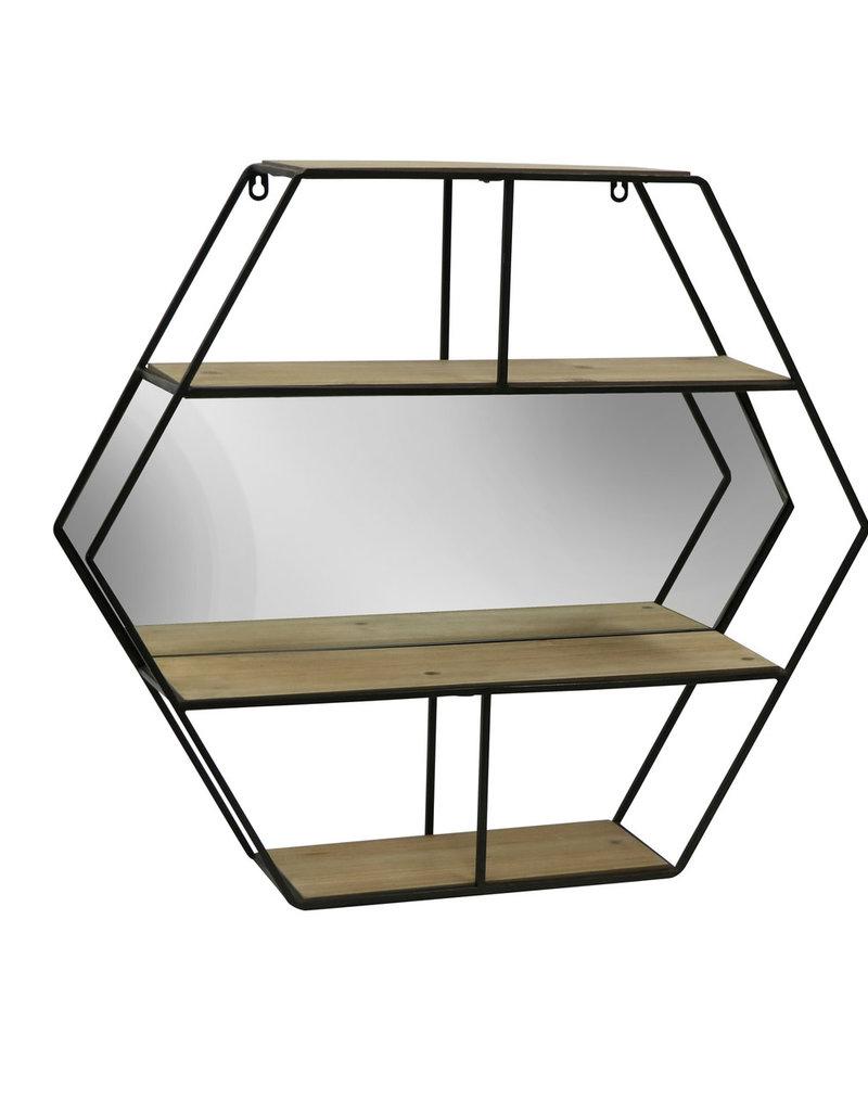 "metal 24"" Hexagon Wall shelf w/mirror"