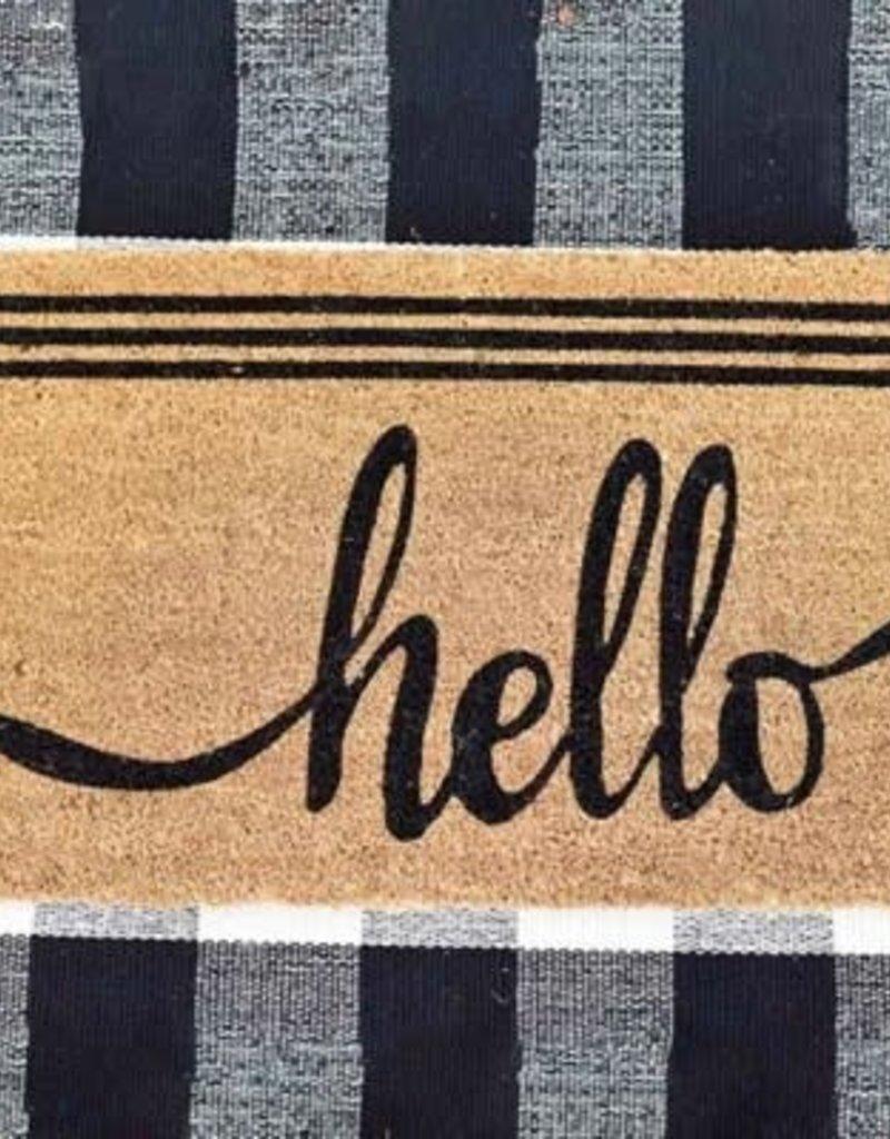 Hello Doormat Stripes