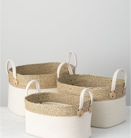 Natural Basket with white handles