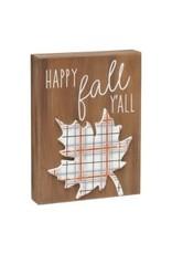 Fall Plaid 3D Box Sign
