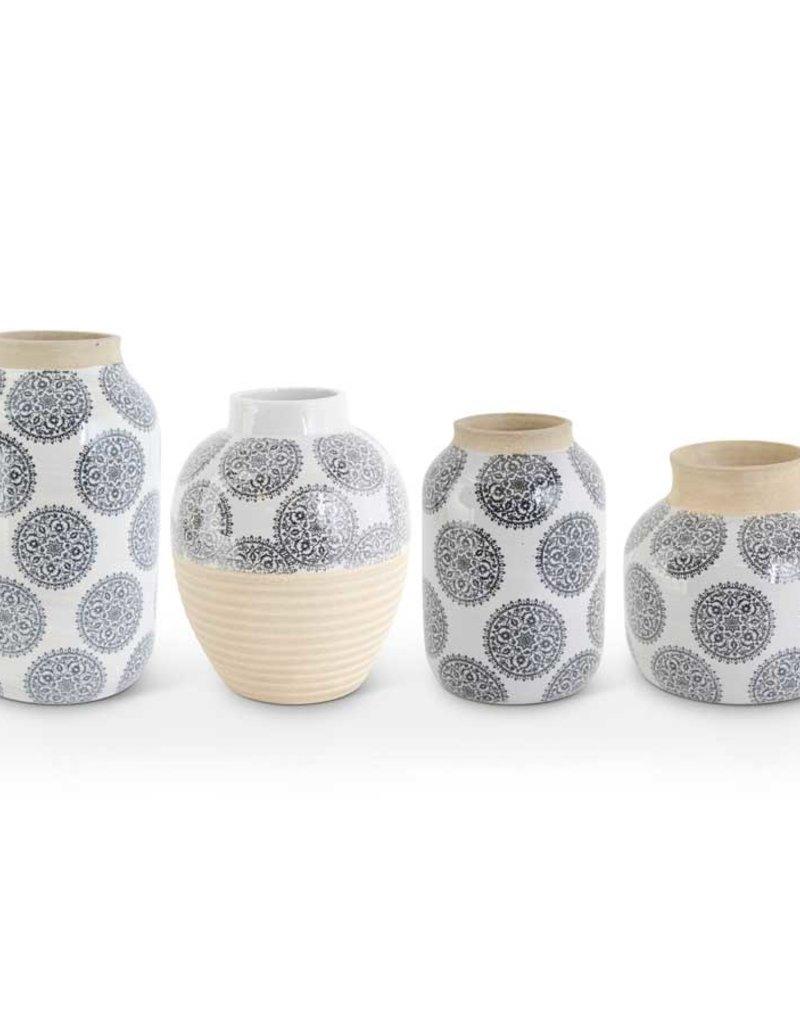 White Stoneware Vase w/gray Mandalas