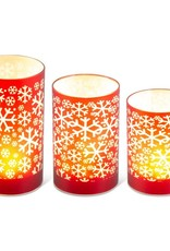 Matte red LED Glass candle w/snowflake