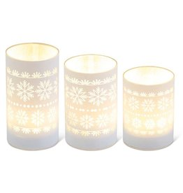 Matte white LED Glass Candles w/snowflakes