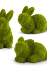 Assorted medium green mossy flocked bunnies