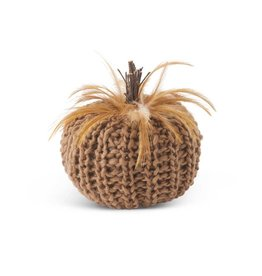 Brown Crochet Pumpkin with wood stem and feathers