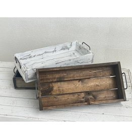 White distressed wood tray
