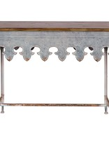 Metal Scalloped table w/wood top