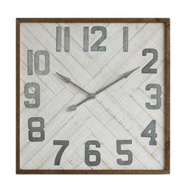 Square Wood & Metal Herringbone Clock