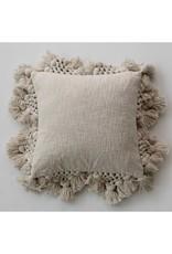 Cotton Pillow w/Crochet & Tassels