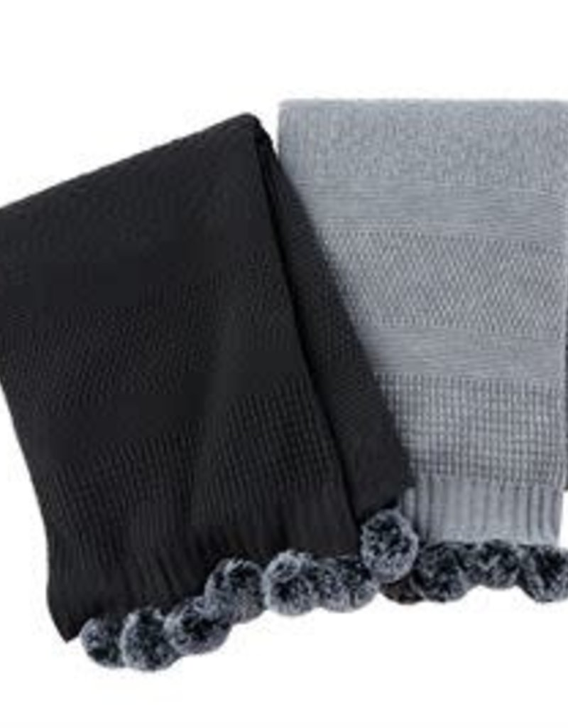 Grey Blanket with Poms