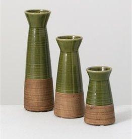 Green vase set of 3