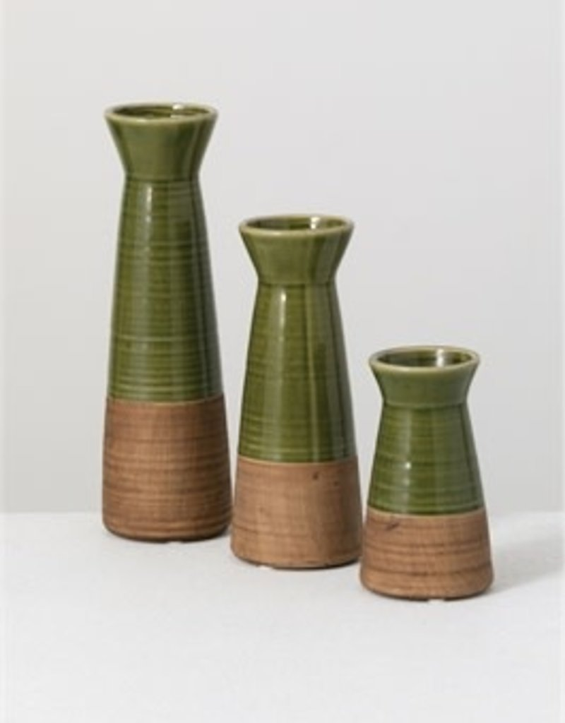 Green vase set of 3