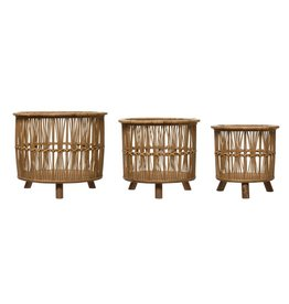 Woven Bamboo Footed Baskets