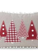 "16"" Rectangular Gray Pillow w/Red Christmas"