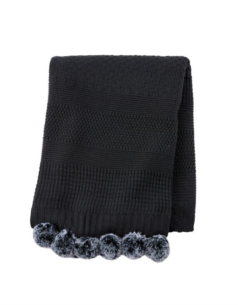 Charcoal Blanket with Poms