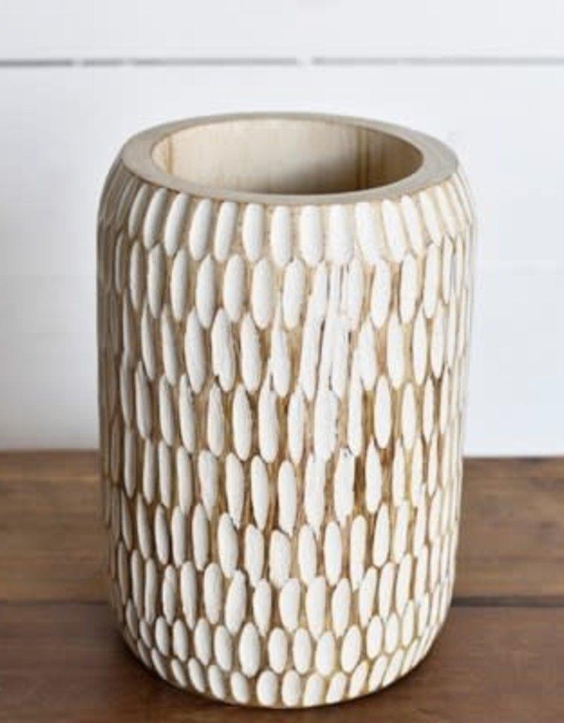 Carved Wood Planter