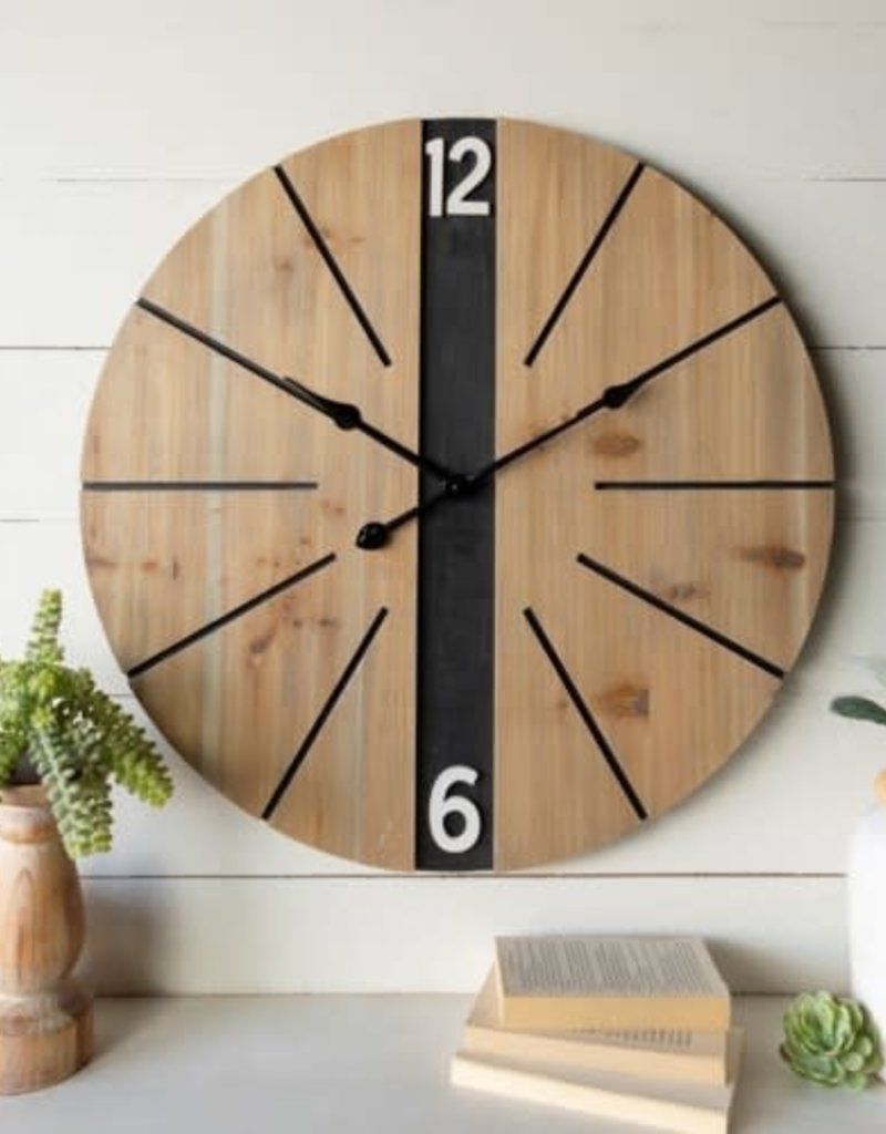 Round Wood Clock, Black Stripe