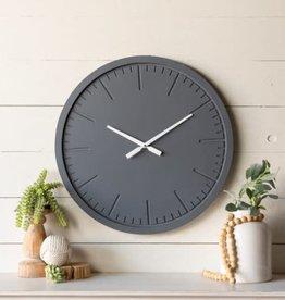 Round Wood Clock, Navy, Engraved clock lines