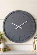 Round Wood Clock, Navy, Engraved clock lines