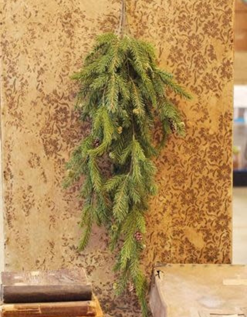 """34"""" White Spruce Hanging w/Cones"""