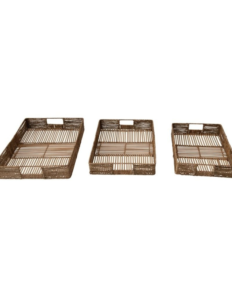 Bamboo and Jute Tray w/Handles