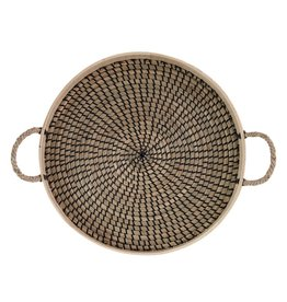 Round Seagrass and Bamboo Tray