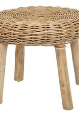 "22.5"" Round Woven Rattan Stool w/Wood Legs"