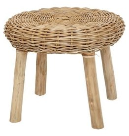 "22.5"" Round Woven Rattan Stool w/Wood Legs"