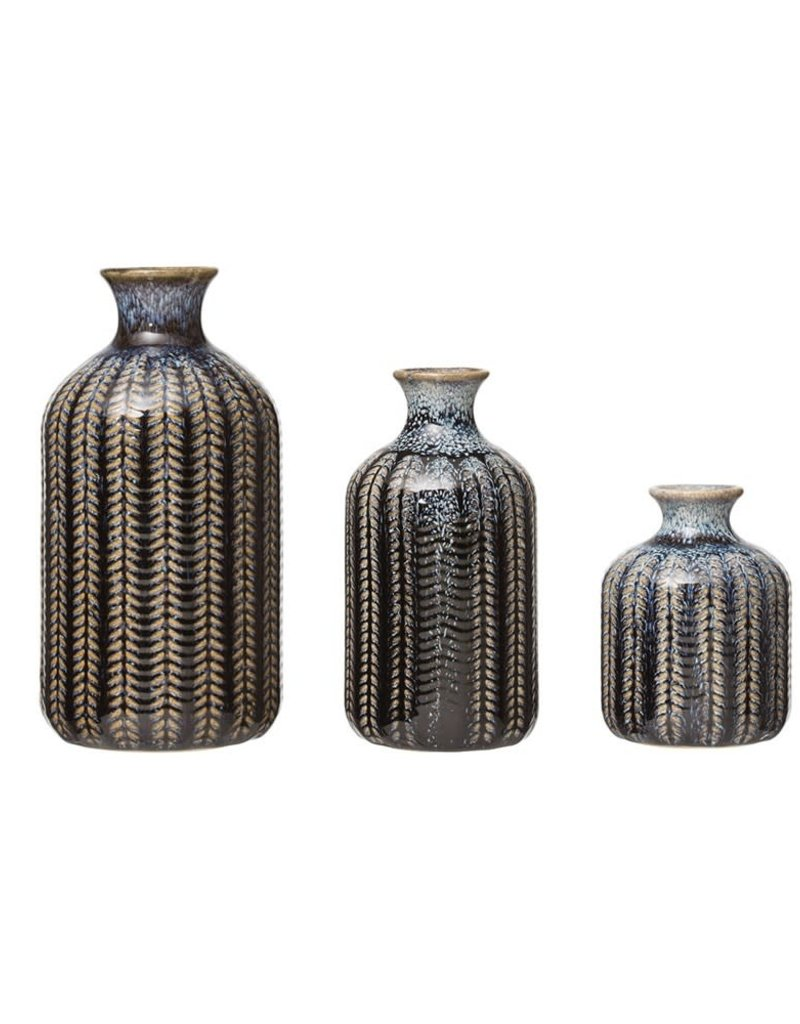 Embossed Stoneware Vase, Blue, Set of 3