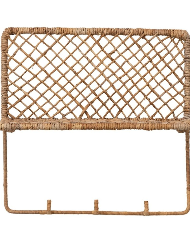 Hand-Woven Banana Bark Wall Shelf with 3 Hooks