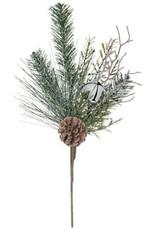 Flocked Pine w/Bells Pick