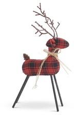 """11"""" Red and Black Plaid Deer w/Twig Antlers"""