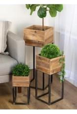 Wood Planter w/Metal Stand